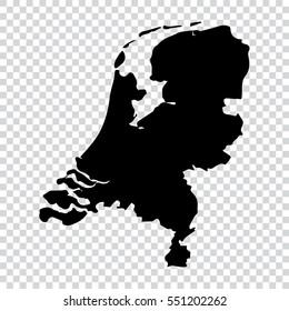 Transparent - high detailed black map of Netherlands. Vector illustration eps 10.