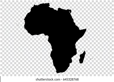 Transparent - high detailed black map of African continent. Vector illustration eps 10.