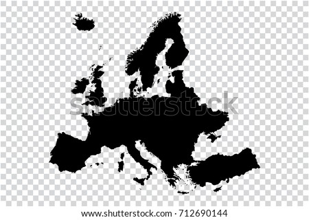 Black Map Of Europe.Transparent High Detailed Black Map Europe Stock Vector Royalty
