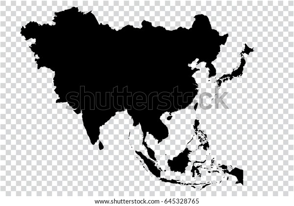 Black Map Of Asia.Transparent High Detailed Black Map Asia Stock Vector Royalty Free