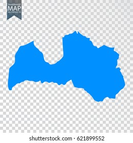 Transparent - high detailed blue map of Latvia. Vector illustration eps 10.