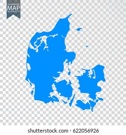 Transparent - high detailed blue map of Denmark. Vector illustration eps 10.