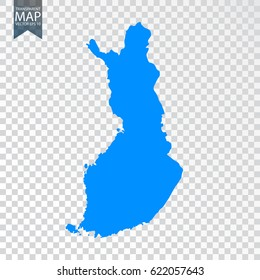 Transparent - high detailed blue map of Finland. Vector illustration eps 10.