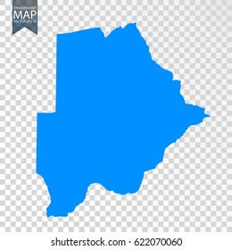 Transparent - high detailed blue map of Botswana. Vector illustration eps 10.