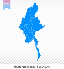 Transparent - high detailed blue map of Myanmar. Vector illustration eps 10.