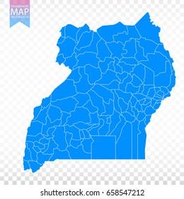 Transparent - high detailed blue map of Uganda. Vector illustration eps 10.