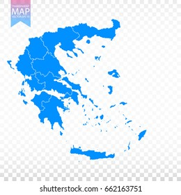 Transparent - high detailed blue map of Greece. Vector illustration eps 10.