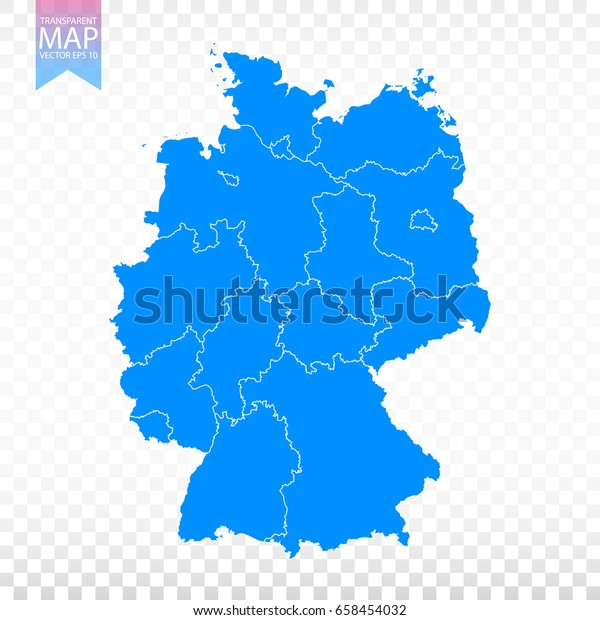 Transparent High Detailed Blue Map Germany Stock ...
