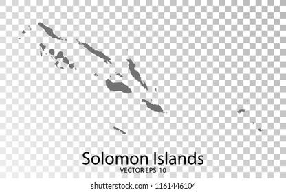 Transparent - High Detailed Grey Map of Solomon Islands. Vector Eps10.