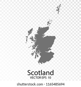 Transparent - High Detailed Grey Map of Scotland. Vector Eps10.
