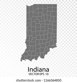 Transparent - High Detailed Grey Map of Indiana. Vector Eps10.