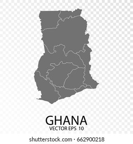 Transparent - High Detailed Grey Map of Ghana. Vector Eps 10.
