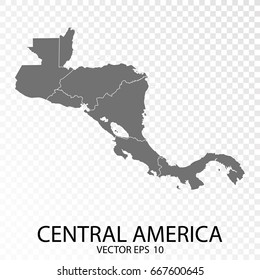 Transparent - High Detailed Grey Map of Central America. Vector Eps 10.