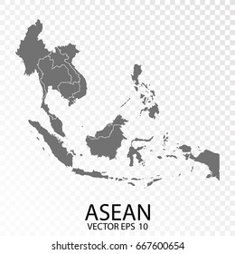 Transparent - High Detailed Grey Map of Asean. Vector Eps 10.
