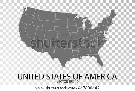 Transparent High Detailed Grey Map United Stock-Vrgrafik ... on