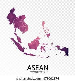 Transparent - High Detailed Low Poly Purple Map of Asean.Vector illustration eps 10.