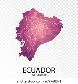 Transparent - High Detailed Low Poly Purple Map of Ecuador. Vector illustration eps 10.