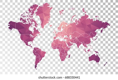 Transparent - High Detailed Low Poly Purple Map of World. Vector illustration Eps10.