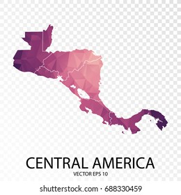 Transparent - High Detailed Low Poly Purple Map of Central America. vector illustration Eps 10.