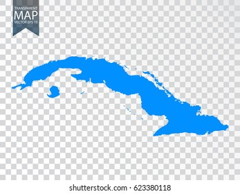 Transparent - high detailed map of Cuba. Vector illustration eps 10.