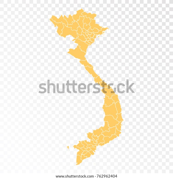 Transparent High Detailed Orange Map Vietnam Stock Vector Royalty Free 762962404