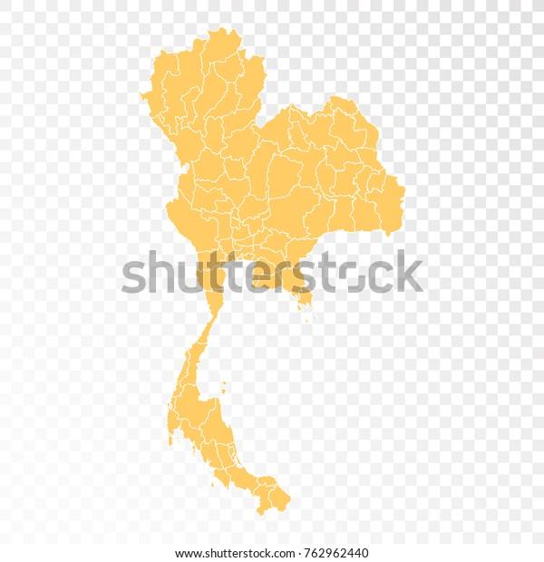 Transparent High Detailed Orange Map Thailand Stock Vector ...