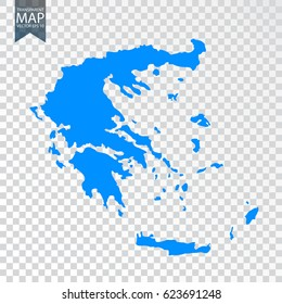Transparent - high map of Greece. Vector illustration eps 10.