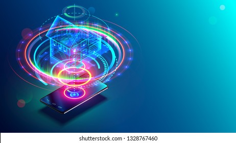 Transparent holographic architecture plan of smart house above smartphone. internet of things technology on mobile devices via wireless web. Iot concept. Project of surveillance and safety estate.