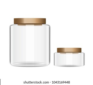 Transparent jar with wood cap difference size isolated on white background vector and illustration