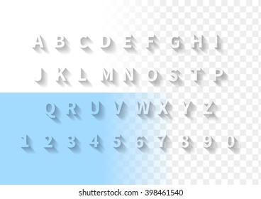 Transparent letters with long shadow. Font with full latin alphabet and numbers.
