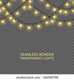 Transparent lights garland, seamless border. Festive decoration, shiny Christmas lights, isolated on transparent background. Template for card, poster, broshure or flyer, header or banner.