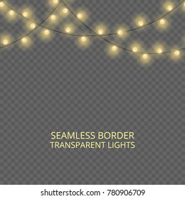 Transparent lights garland, seamless border. Festive decoration, shiny Christmas lights, isolated on transparent background. Template for card, poster, broshure or flyer, header or banner.