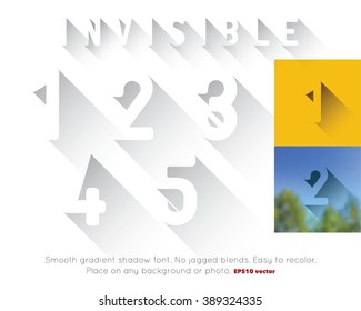 Transparent long shadow font. Invisible 3d CMYK vector alphabet numbers can be placed on any background or photo. Convert to RGB for online. Smooth EPS 10 gradients. No jagged blends. Numerals 1-5.