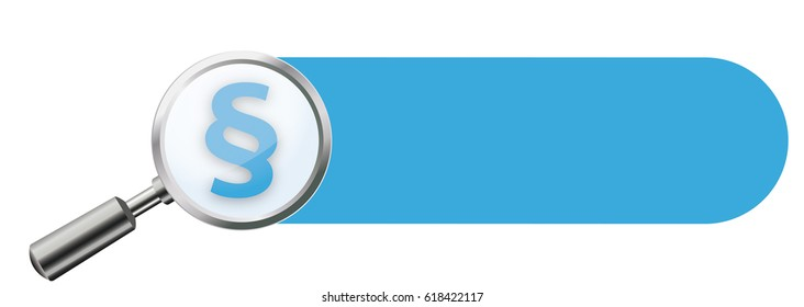 Transparent loupe with paragraph and blue banner on the white background. Eps 10 vector file.