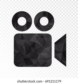 Transparent - Low poly Video Camera icon. Vector illustration eps 10.