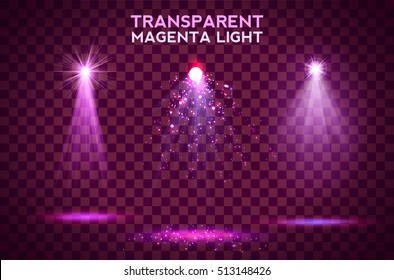 Transparent magenta ligth effects on a dark background. Spotlights, flare, explosion and stars. Vector