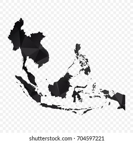 Transparent - Map of Asean. Black Geometric Rumpled Triangular , Polygonal Design For Your . Vector illustration eps 10.