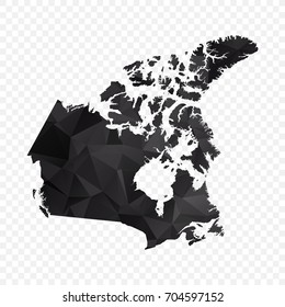 Transparent - Map of Canada. Black Geometric Rumpled Triangular , Polygonal Design For Your . Vector illustration eps 10.