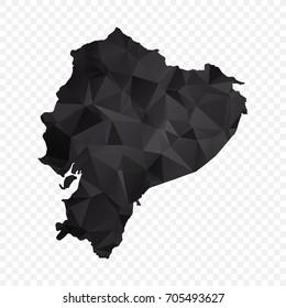 Transparent - Map of Ecuador. Black Geometric Rumpled Triangular , Polygonal Design For Your . Vector illustration eps 10.
