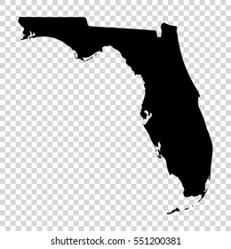 Transparent map - high detailed black map of Florida. Vector illustration eps 10.