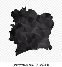 Transparent - Map of Ivory Coast. Black Geometric Rumpled Triangular , Polygonal Design For Your . Vector illustration eps 10.