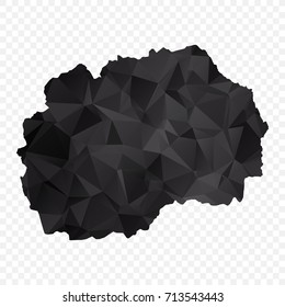 Transparent - Map of Macedonia. Black Geometric Rumpled Triangular , Polygonal Design For Your . Vector illustration eps 10.