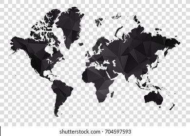 Transparent - Map of World. Black Geometric Rumpled Triangular , Polygonal Design For Your . Vector illustration eps 10.