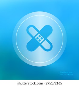 Transparent medical  icon on the blurred  background. Adhesive plaster symbol. Vector illustration