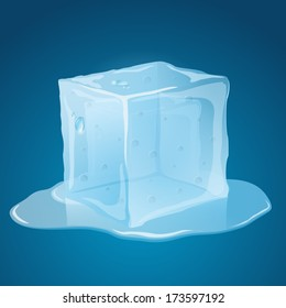 Transparent, melting, blue ice cube, with puddle.
