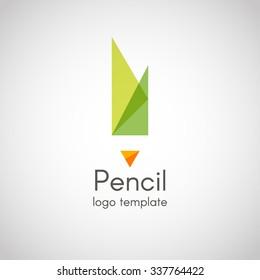 Transparent minimal design logo, business icon pencil. Abstract pencils logo template. EPS 10