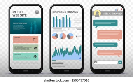 Transparent Mobile Phone Screens Vector Illustration