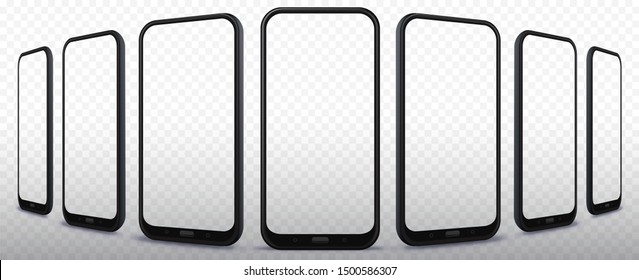 Transparent Mobile Phone Vector Illustration Mockup Set From Different Angles and Perspectives