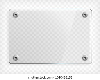 Transparent mock up of a glass plate with metallic mounts. Vector illustration