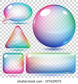Transparent multicolor glass shapes or buttons various forms